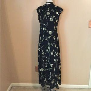 Vintage 90's High Neck oriental Asian Maxi Dress L